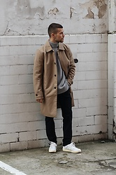 Kevin Elezaj - New Balance Sneakers, Acne Studios Suit Pants, Cos Sweater, Topman Trench Coat - Another Trench