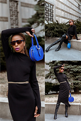 Opal S - Carbon 38 Asymmetrical Knit Dress, Rebecca Minkoff Top Handle Bag, Alice And Olivia Otk Boots, Mcm Worldwide Sunglasses - Back to Black