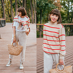 Christina&Karina Vartanovy - Mango Striped Cotton Sweater, Lake White T Shirt, Popjulia Casual Shift Pants In Beige, Zaful Straw Tote Bag, Popjulia Leopard Print Canvas Sneakers - Christina // young, wild and free