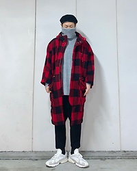 ★masaki★ - Rothco Beret, Ch. Oversized Plaid Coat, Adidas Yung1 - Cold Cold Day