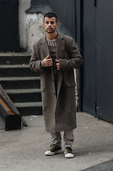Kevin Elezaj - Converse Sneakers, Uniqlo Pants, Hope Coat, J. Crew Sweater - January 27
