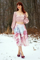 Bleu Avenue Ofbleuavenue - Femme Luxe Pink Satin Puff Sleeve Cuffed Crop Top – Halima, Chic Wish Bubble Skirt - Satin Crop tops and Midi Skirts