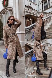 Opal S - & Other Stories Faux Fur Printed Coat, Rebecca Minkoff Circle Bag, Alice And Olivia Otk Boots, B Low The Belt, Mcm Sunglasses - Statement Coat