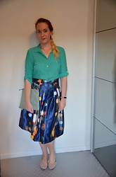 Sarah M - H&M Blouse, Primark Clutch, Aliexpres Skirt, Esprit Flats - Blue Lights