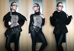 Grim Alex - Thrifted Joy Division T Shirt, Aliexpress Chain Belt, H&M Black High Waisted Wax Coated Jeggings, Aliexpress Moon Earrings, Thrifted Black Turtleneck For Layering (It's Cold Af), Zara Black Puffer Jacket - She's Lost Control