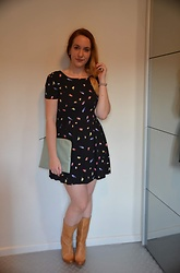 Sarah M - Primark Dress, Primark Clutch, Cafeina Wedge Boots - Bird Lady