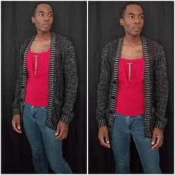 Thomas G - Epic Threads Skinny, Solar Usa Top, H&M Cardigan - I don't mind not being cool...