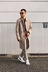 Kevin Elezaj - Nike Sneakers, Uniqlo Pants, Asket Sweater, Topman Trenchoat, Viu Eyewear Glasses - Sunlight