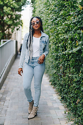 Ria Michelle - H&M Conscious Collection Denim Jacket, H&M White Tee, Sunday Somewhere Tallulah Sunglasses, Dolce Vita Tae Motorcycle Boot - Suiting Up in Denim on Denim