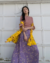 Gi Shieh - Raided Mom's Closet Pink And White Printed Blouse, H&M Yellow Wrap Dress, Raided Mom's Closet Purple Floral Skirt - Is it spring yet?