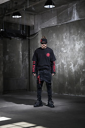 INWON LEE - Byther Head Band, Byther Skull Logo Tshirt, Byther Project R Shirt, Byther Key Chains - Project R in Black n Red