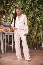 Ria Michelle - Saint Laurent Medium Sunset Bag In Crocodile Embossed Shiny Leather, Acne Studios Pink/Orange Printed Blazer, Acne Studios Printed Trousers - Brunch with Beefeater Gin