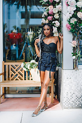Ria Michelle - Endless Rose Asymmetrical Bustier Top, Acler Tenby Denim Shorts, Aquazzura Christy Lace Up Snakeskin Flat - Cotton's Fashion Delivered Collection