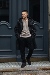 Kevin Elezaj - Hackett London Shoes, Allsaints Pants, Weekday Sweater, Diesel Jacket - February