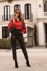 Maria Lucia Barrueta - Monica Campaña Mc Shirt, Mango Leather Pants, Vizzano Black Boots - Leather Pants