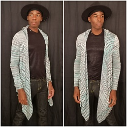 Thomas G - In Motion Design Inc Wide Brim Fedora, Dolce & Gabbana Shiny Shirt, Dolce & Gabbana Skinny, Mac & Jac Drape Shrug - Wide-brim | Drape shrug | Jeans