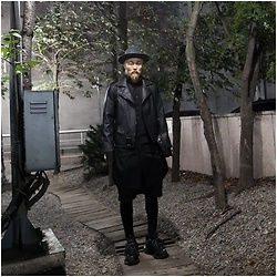 INWON LEE - Byther Fedora Hat, Byther Custom Paint Slogan Leather Jacket - Black Leather Jacket