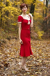 Bleu Avenue Ofbleuavenue - Stop Staring! Railene Dress In Red And Ivory - Railene Dress by Stop Staring!