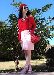 Saguaro Style - Anthropologie Ots Red Sweater, Anthropologie Zip Front Pencil Skirt, Sven Clogs Pink Bow Knot - 02.12.20