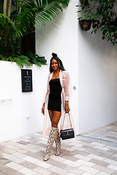 Ria Michelle - Maje Roane Midi Dress, Urban Outfitters Tank Dress, Zara Snakeskin Print Boots, Saint Laurent Medium Sunset Croc Embossed Shoulder Bag - What To Wear Under A Sheer Dress