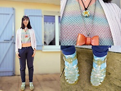 Lulu Longstocking - Thrifted Sweater, Second Hand Cardigan, Jelly Shoes, Second Hand Smiley Necklace - Kitsch