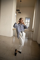 Anna Borisovna - Inscrire Fashion Bluse, Massimo Dutti Belt, Inscrire Fashion Pants, Othehr Stories Loafer - The White Denim Pant
