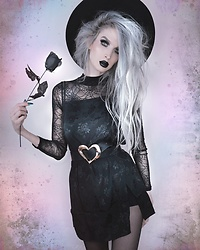 Jadethelibra - Motel Datista Slip Dress, Boohoo Spiderweb Bodysuit, Killstar Witch Brim Hat, Shein Heart Belt - Dark Romance