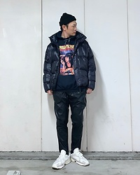 ★masaki★ - Pulp Fiction Hoodie, Bershka Puffer, Zara Pu Leather Pants, Adidas Yung1 - Pulp Fiction Hoodie🎦