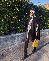 PAMELA - Boohoo Polka Dot Blouse, Zara Round Sunglasses, Mango Black Cape - Funny print with a pop of color