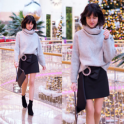 Claire H - H&M Heavy Knit Sweater With Collar, Zara Festive Mini Skirt With A Bow, Office Black Sock Boots, Karl Lagerfeld Tiny Clutch - Shining lights