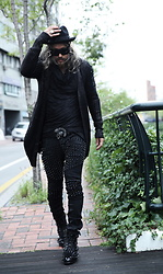 INWON LEE - Byther Hand Painted Cardigan, Byther Cotton Hoodie, Byther Studded Pants, Byther Studded Boots - Punk Rock Studded Look