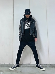 ★masaki★ - Kollaps 実験音楽, Balenciaga Moto Jacket, Sonic Youth Hoodie, R13 Denim Jeans, Converse Ct70 - Black Fits