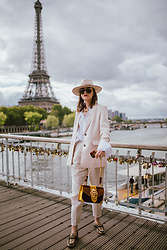 Andreea Birsan - Beige Fedora Hat, Oversize Sunglasses, Beige Blazer, White Button Down Shirt, Beige Suit Trousers, Brown Velvet Bag, Brown Check Shoes - The beige suit
