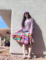 Saguaro Style - Calvin Klein Rainbow Dress, Swedish Hasbeens Purple Heart Clogs - 02,19.20