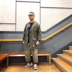 Mannix Lo - Wtaps No Collar Military Jacket, Uniqlo Long Sleeves Waffle Tee, Gu Loose Fit Cropped Pants, Madness X New Balance 990v2 Sneakers - If it doesn't open, it's not your door