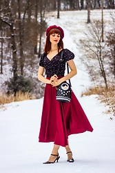 Bleu Avenue Ofbleuavenue - Shein Lace Up Back Star Pattern Surplice Blouse, Shein Burgundy Midi Skirt - Snow Storm