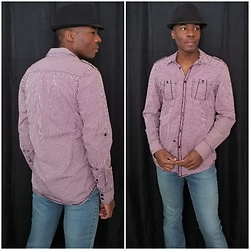 Thomas G -  I•N•C International Concepts Button Down, Faded Glory Fadora, Express Stretch Fit & Flare  - Fedora | Button-down shirt | Jeans