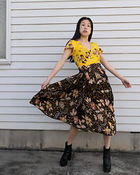 Gi Shieh - H&M Yellow Floral Wrap Dress, Thrifted Brown Floral Skirt, Aldo Black Platform Boots - Busting out the spring florals!