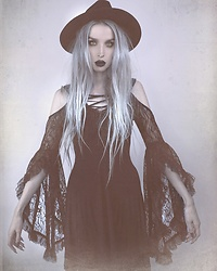 Jadethelibra - Devil Night Dress, Killstar Eternal Eclipse Fedora - Witchy Wednesday