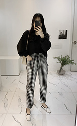 Miamiyu K - Miamasvin Gingham Check Patch Pocket Pants - Vintage Check