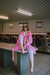 Andreea Birsan - Pink Embellished Shoes, Lilac Mom Jeans, Pink Trench Coat, White Button Down Shirt, Oversized Sunglasses - Pastels