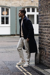 Kevin Elezaj - Nike Sneakers, Wood Pants, Cos Knitwear, Séfr Coat, Burberry Glasses - Layers