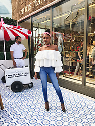 Ria Michelle - Moda Zeta Off The Shoulder Peasant Top - Christian Louboutin Miami Flagship Opening