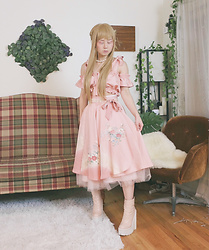 Lovely Blasphemy - Lockshop Wigs Silky Straight Milk Tea, Strawberry Skies Remake Vintage Kimono Set, Jeffrey Campbell Shoes Pink Patent Leather - Chance encounters are what keep us going