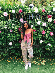 Ria Michelle - Style Mafia Bow Crop Top, Monki Leopard Print Trousers - Party Files: Boohoo At Miami Music Week