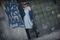 Ewa Macherowska - Second Hand Dress, Bonprix Jacket, Mango Boots, Manzana Bagh, Pacze Sunglasses, Lolita Choker - Baby Blue Dress