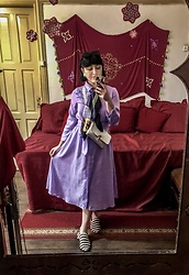 Weronika Bukowczan - Reserved Lilac Midi Shirt Dress, H&M Striped Slip Ons, Primark Silver Cross Body Bag, Vintage Silk Scarf - Lilac Dreams