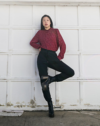 Gi Shieh - Raided Mom's Closet Red And White Polka Dot Top, Black Sweats, Aldo Black Platform Boots - Down With Sweats Out In Public?