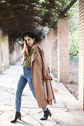 Life Stalkers - Exe Ankle Boots, Bershka Highwaist Mom Jeans, Tally Weijl Khaki Shirt, Dresslily Suede Hat, Pop Air Suede Trench Coat - Suede Trench Coat
