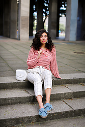 Samieze -  - White Pants and Pink Chrochet Sweater